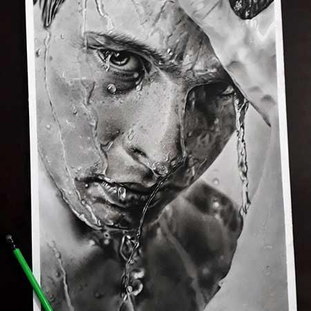 سفارش نقاشی سیاه قلم هایپر رئال