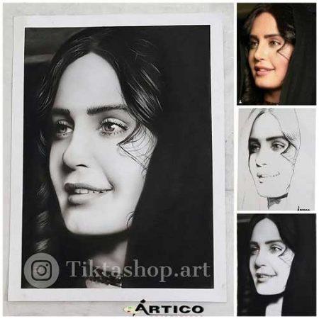 سفارش نقاشی چهره سیاه قلم هایپررئال