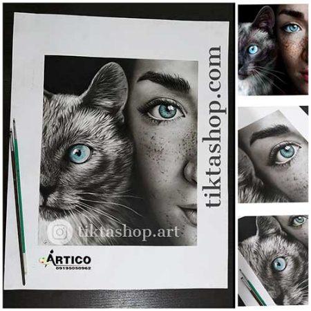 سفارش نقاشی - میکس مدیا ترکیب سیاه قلم و پاستل